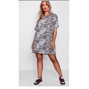 Boohoo Camo Print T Shirt Dress Plus Size